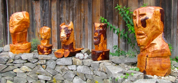 Marco Fuoco's cedar carved heads